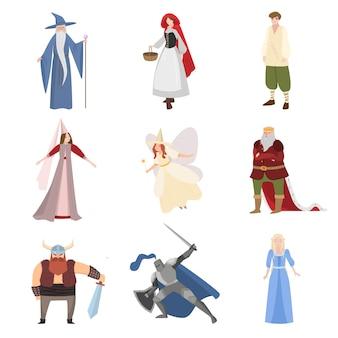 Satz von verschiedenen märchencharakter, persönlichkeiten, kindheit