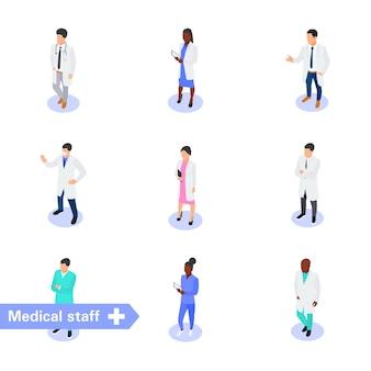 Satz von verschiedenen medizinischen zeichen lokalisiert auf weiß. ärzteteam und personal.