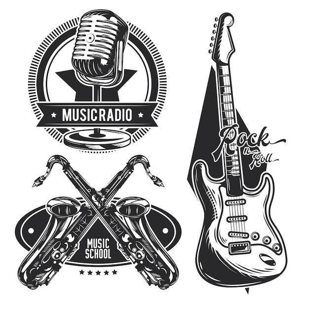 Satz von verschiedenen musikinstrumentenemblemen