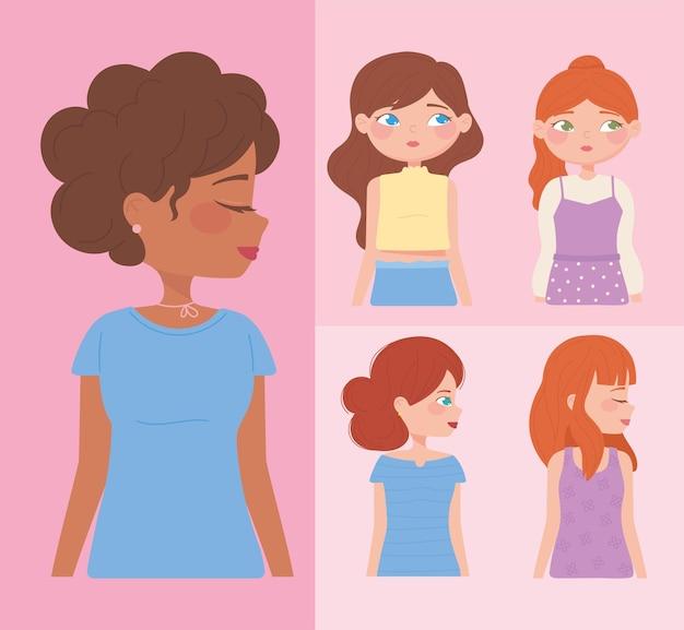 Satz von verschiedenen weiblichen charakteren