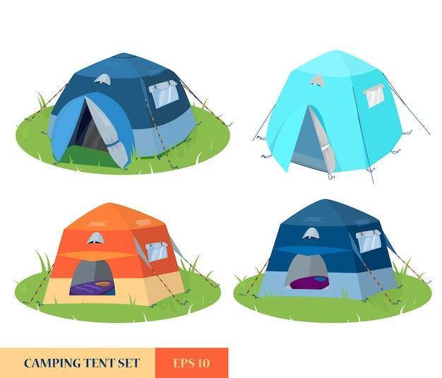 Satz von verschiedenen zelten aus verschiedenen blickwinkeln. campingzelte auf lichtung.