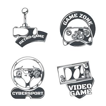 Satz von videospielemblemen, -etiketten, -abzeichen, -logos. auf weiß isoliert