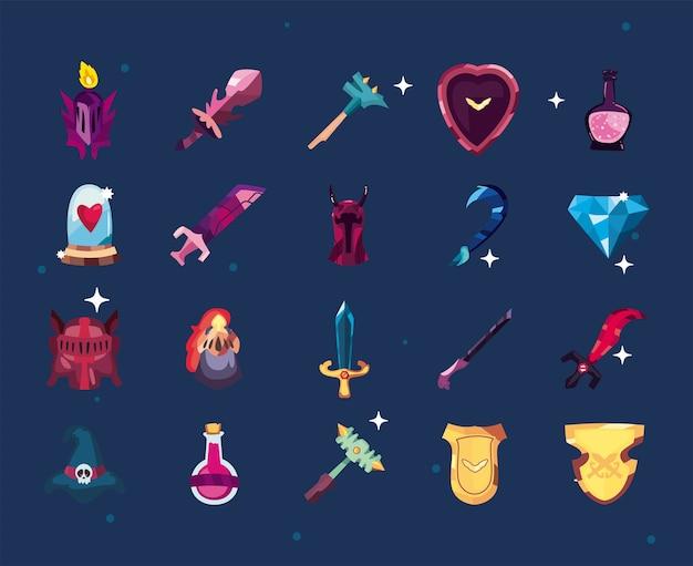 Satz von videospielsymbolen
