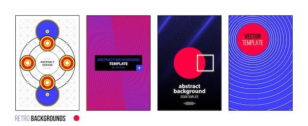 Satz von vier abstrakten hintergründen / von plakaten im hellen retrostil