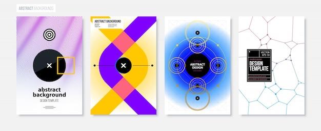 Satz von vier abstrakten hintergründen / von plakaten in der modernen minimalismusart
