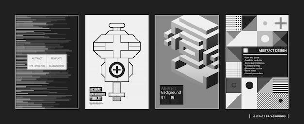 Satz von vier abstrakten hintergründen / von plakaten in der schwarzweiss-art