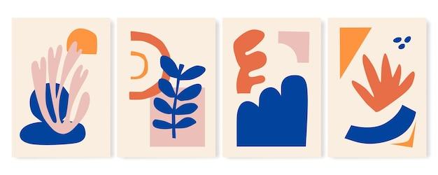 Satz von vier abstrakten hintergrundmustern boho-plakaten handgezeichnete verschiedene formen Premium Vektoren