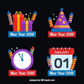 Satz von vier abzeichenabzeichen des neuen jahres 2018 in den verschiedenen formen