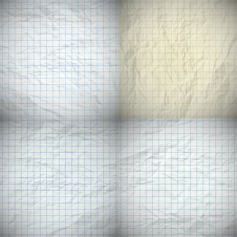 Satz von vier alten verbeulten notizbuchpapieren mit platz für ihren text. vektor-illustration