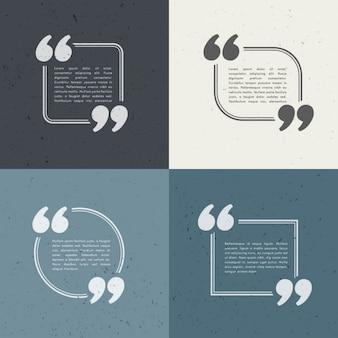 Satz von vier anführungszeichen in verschiedenen stilen