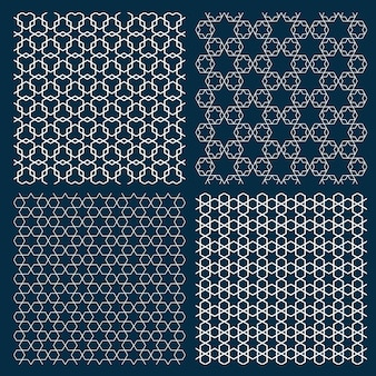 Satz von vier arabischen geometrischen mustern mit sternen