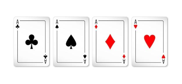 Satz von vier assen kartenspiel auf weiß isoliert