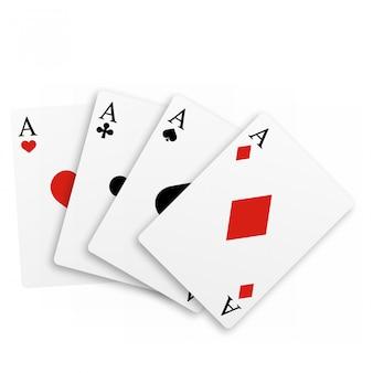 Satz von vier assen-spielkarten.