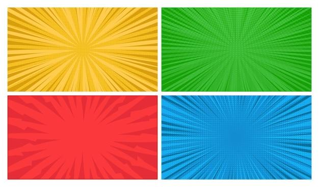 Satz von vier comic-seitenhintergründen im pop-art-stil mit leerem raum. vorlage mit strahlen, punkten und halbtoneffekt-textur. vektor-illustration