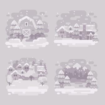 Satz von vier einfarbigen weißen winterlandschaftshintergründen. schneebedeckte winterszenen sind flach