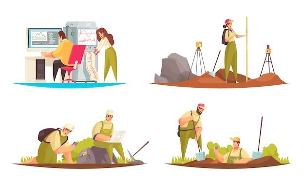 Satz von vier flachen isolierten geologenkompositionen mit menschlichen charakteren im gekritzelstil und technischen ausrüstungsgegenständen