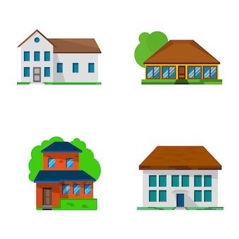 Satz von vier flachen lebenden häusern, vektorillustration