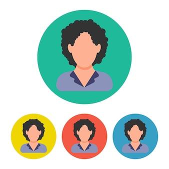 Satz von vier geschäftsfrauikonen auf buntem kreis. menschen-symbol im flachen stil. vektor-illustration