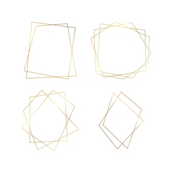 Satz von vier goldenen geometrischen polygonalen rahmen mit glänzenden effekten lokalisiert auf weißem hintergrund. leere leuchtende art-deco-kulisse. vektor-illustration.