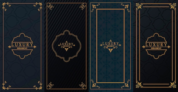 Satz von vier goldenen luxusrahmen mit viktorianischem stil im schwarzen hintergrund