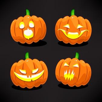 Satz von vier halloween gruseligen und lustigen kürbissen