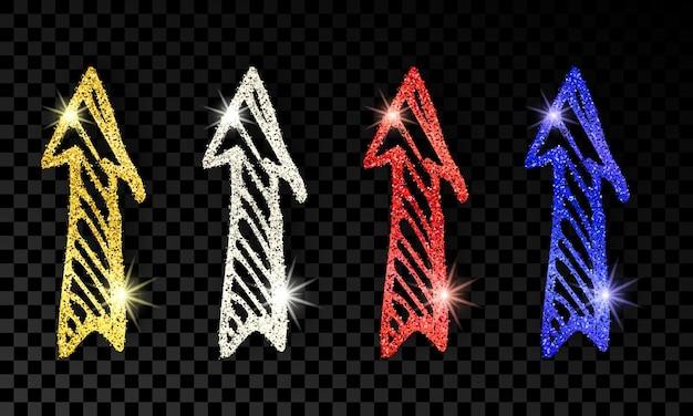 Satz von vier handgezeichneten doodle-pfeilen mit goldenem, silbernem, blauem und rotem glitzereffekt auf dunklem transparentem hintergrund. vektor-illustration