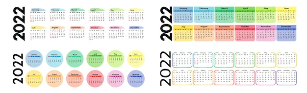 Satz von vier horizontalen kalendern für 2022 auf einem weißen hintergrund. sonntag bis montag, business-vorlage. vektor-illustration
