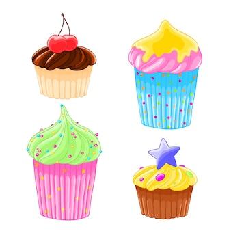 Satz von vier ikonen in den köstlichen muffins der karikaturart mit dem bereifen, schokolade und kirsche.