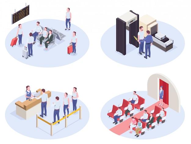 Satz von vier isometrischen zusammensetzungen des flughafens mit sicherheitsüberprüfung des lounge-registrierungsschalters und vektorillustration der innenbordinnenbilder
