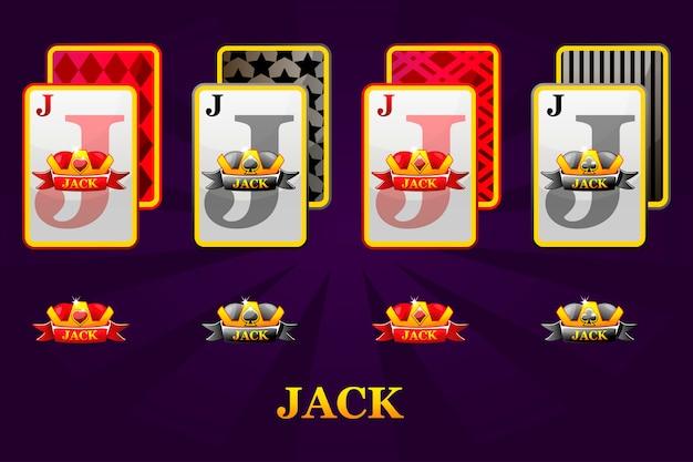 Satz von vier jacks spielkarten passt für poker und casino. satz herzen, spaten, keulen und diamanten jack.