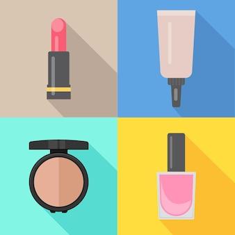 Satz von vier make-up-artikeln im flachen stil mit schatten. vektor-illustration.