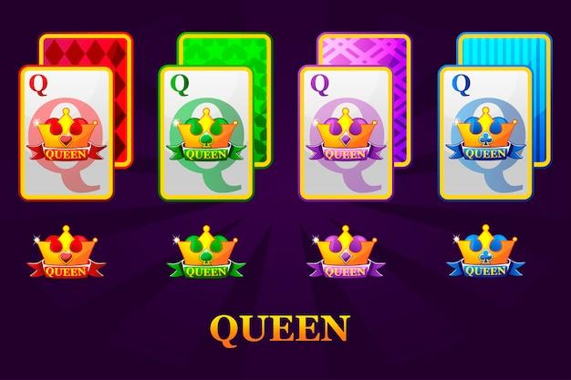 Satz von vier queens-spielkarten passt für poker und casino. satz herzen, pik, keulen und diamanten königin.