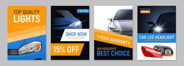 Satz von vier realistischen autoscheinwerfern, die banner mit und bilder von autoteilen werben