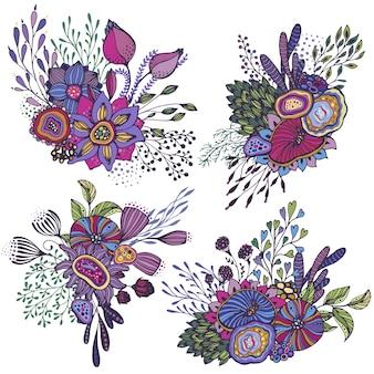 Satz von vier schönen fantasieblumensträußen mit handgezeichneten blumen, pflanzen, zweigen. helle bunte vektorillustration.