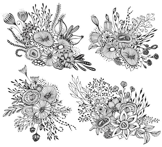Satz von vier schönen fantasieblumensträußen mit handgezeichneten blumen, pflanzen, zweigen. schwarz-weiß-vektor-illustration.