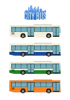 Satz von vier stadtbussen.