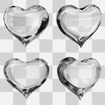 Satz von vier transparenten herzen in den grauen farben