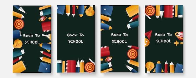 Satz von vier zurück zu schule-social-media-paket-vorlagen-premium-vektor