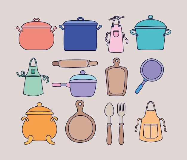 Satz von vierzehn küchenikonen