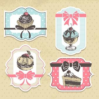 Satz von vintage-bäckerei-etiketten. vintage-rahmen mit süßen cupcakes