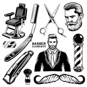 Satz von vintage-barbershop-elementen