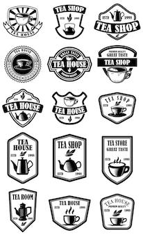 Satz von vintage-teehaus-etiketten. gestaltungselement für logo, emblem, schild, poster.