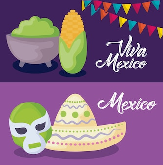 Satz von viva mexiko-feier mit hut und ikonen
