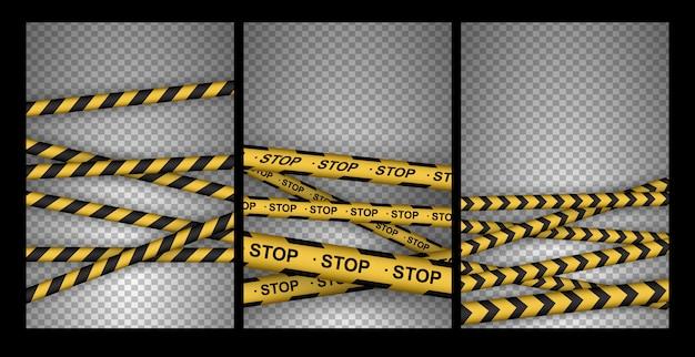 Satz von vorsicht, gefahr, warnung, aufmerksamkeit, polizeibändern, zeichen, linie. schwarze und gelbe linie gestreift.