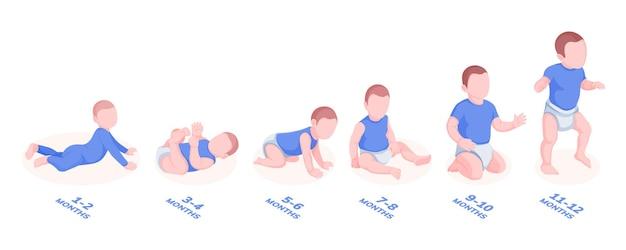 Satz von wachstumsstadien des säuglingsjungen für babymonat des ersten lebensjahresillustrationsbabys oder -kindes