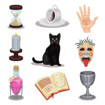 Satz von wahrsagungssymbolen. rituelle attribute. schwarze katze, tasse mit kaffeesatz, trank, buch, kerze, gruselige maske