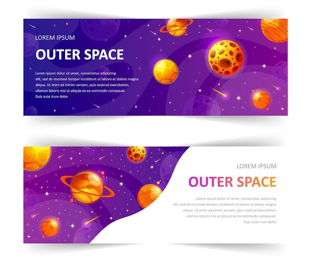 Satz von web-banner-vorlagen mit abstrakter form und sternen.
