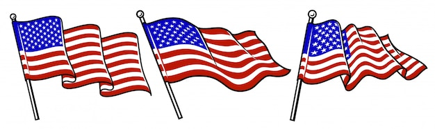 Satz von wehenden usa-flaggen.