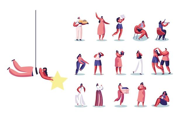 Satz von weiblichen charakteren, die goldstern halten, bäcker mit bäckerei, architekt mit lineal, haare waschen, geschenkbox halten, tanz mit freund, isoliert auf weißem hintergrund. cartoon-menschen-vektor-illustration