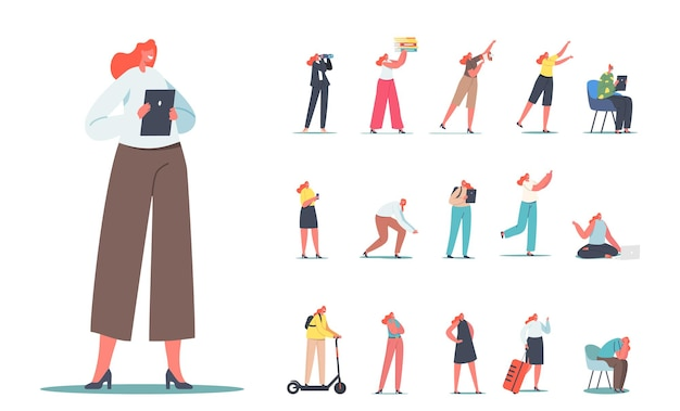 Satz von weiblichen charakteren, geschäftsfrau mit tablet-pc, fernglas, studentin, beschäftigter sekretär mit ordnerstapel, reisender mit tasche, isoliert auf weißem hintergrund. cartoon-menschen-vektor-illustration